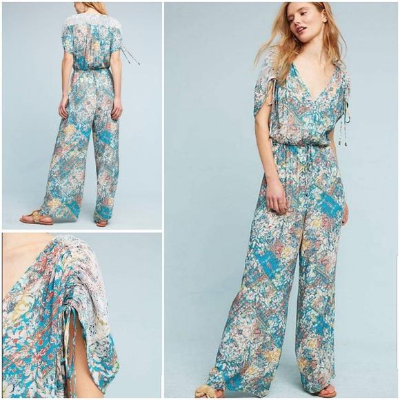 2b181ee54e0 Elevenses Zula Lace Jumpsuit Floral Green NWOT L